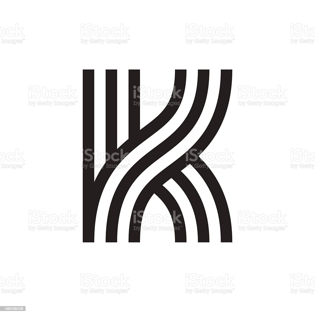 K letter formed by parallel lines. vector art illustration