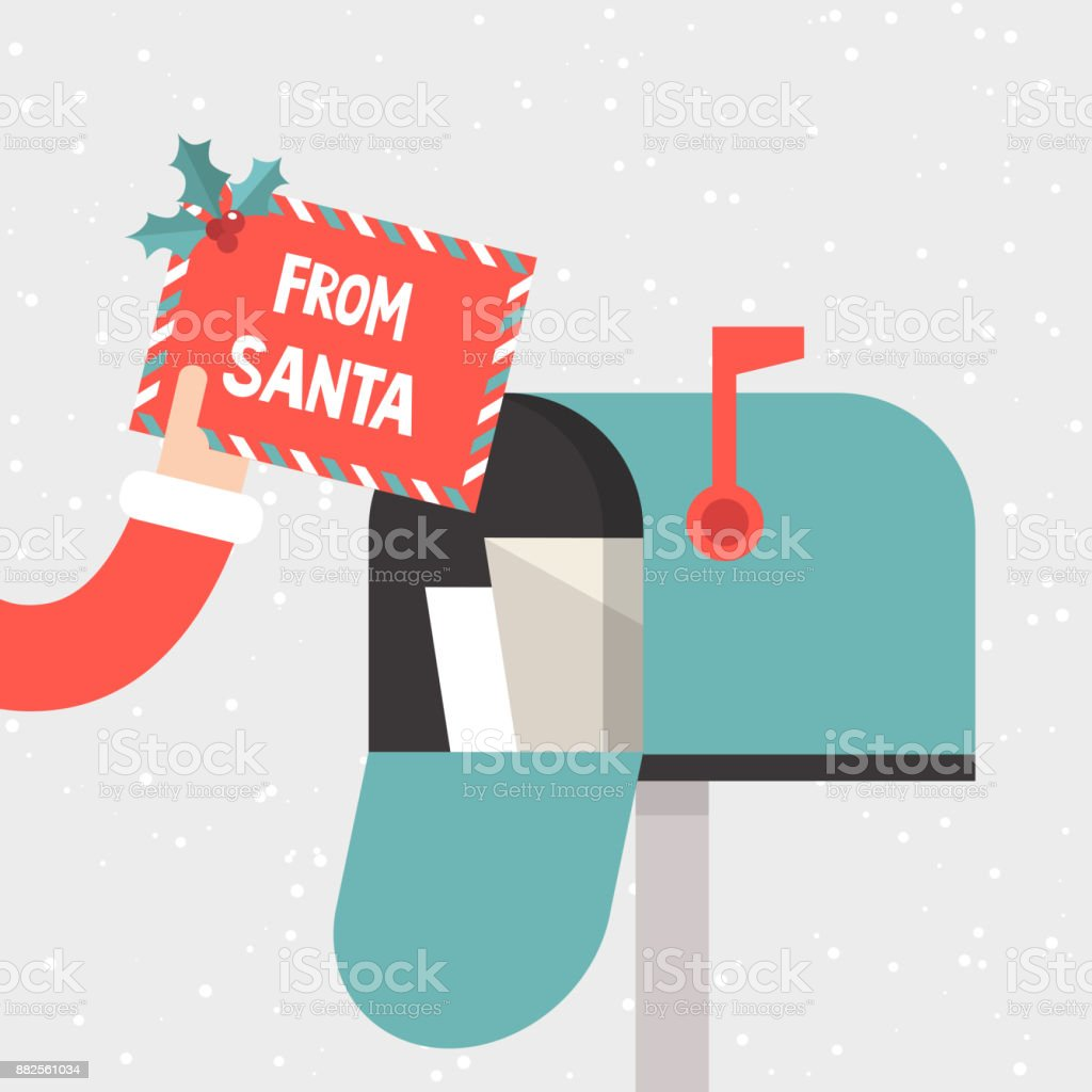 Letter From Santa Hand Holding A Decorated Envelope Mailbox
