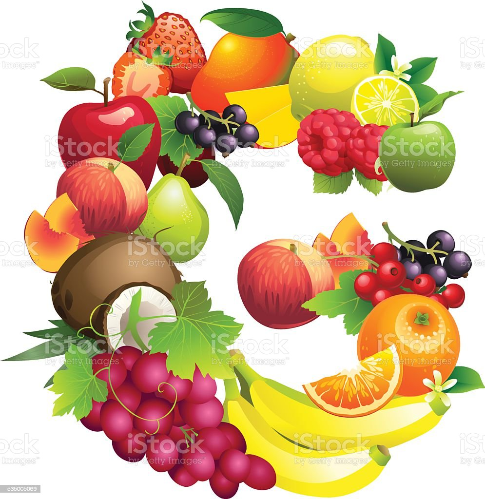 Letter G composed of different fruits with leaves vector art illustration
