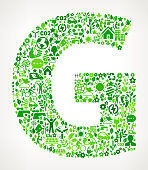 Letter G On Green Environmental Conservation and Nature royalty free vector interface icon pattern. This royalty free vector art features nature and environment icon set pattern. The major color is green and icons include trees, leaves, energy, light bulb, preservation, solar power and sun. Icon download includes vector art and jpg file.