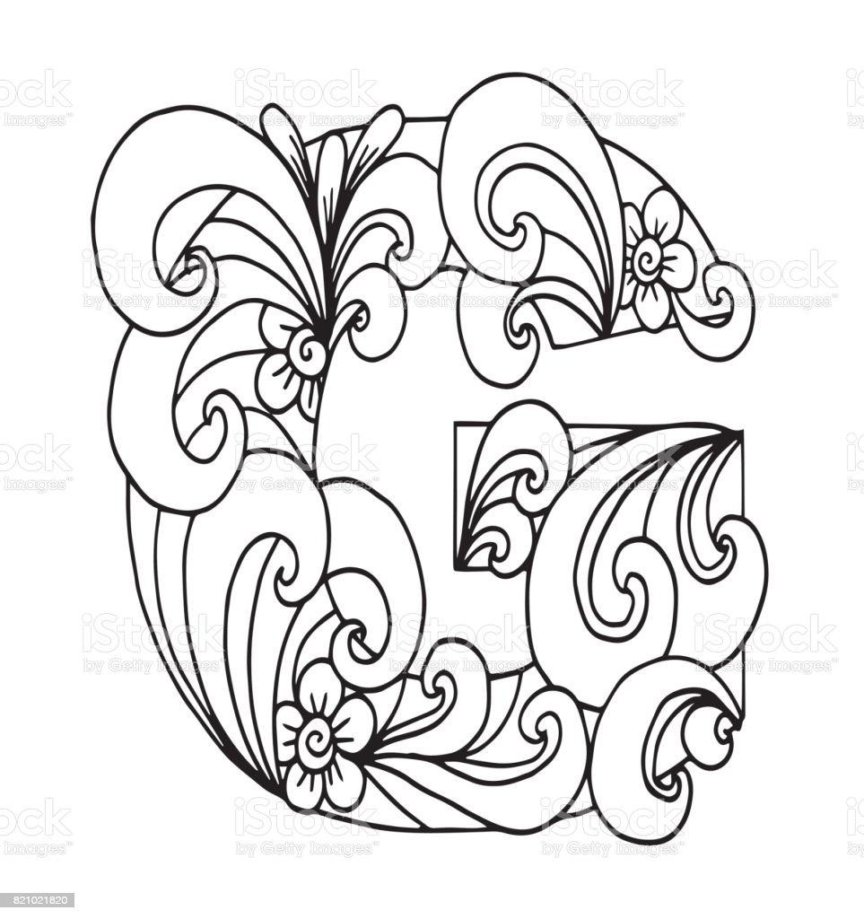 G Harfi Boyama Vektor Dekoratif Nesne Illustrasyon Bilgisayar