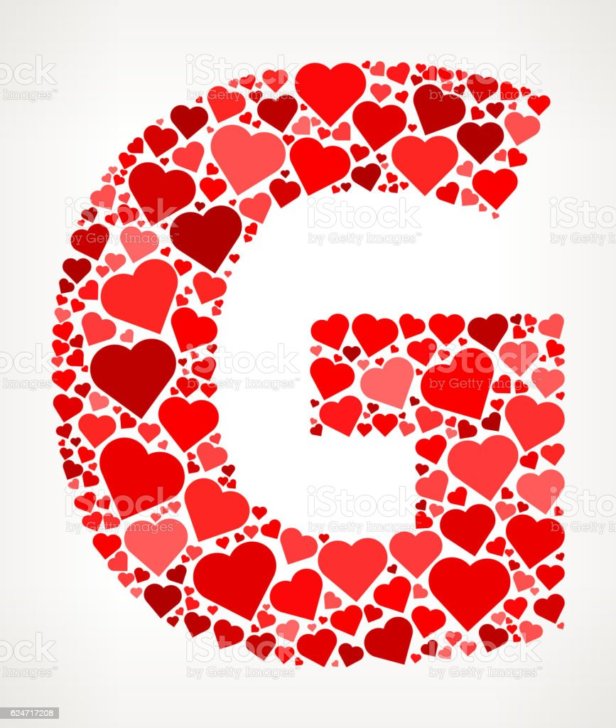 Letter G Icon With Red Hearts Love Pattern Stock Vector Art & More ...