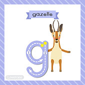 Letter G lowercase tracing. Gazelle standing on two legs