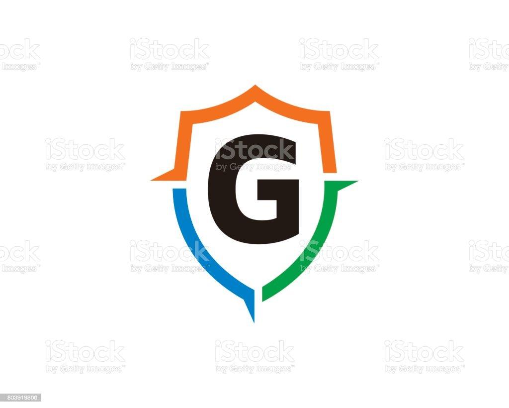 Ilustración de Letra G Escudo Símbolo Plantilla Diseño Vector ...