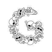 Letter G skeleton Bones Font. Anatomy of an alphabet symbol. dead ABC sign