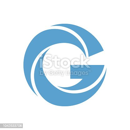 Letter G vector logo in blue and green colors