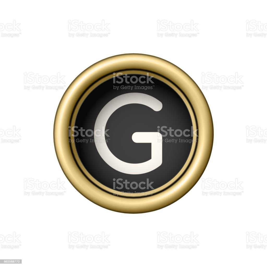 Letter G. Vintage golden typewriter button vector art illustration