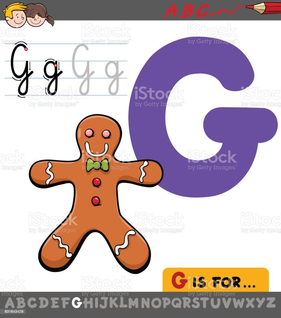 Ilustración de Letra G Con El Hombre De Jengibre De Dibujos Animados ...