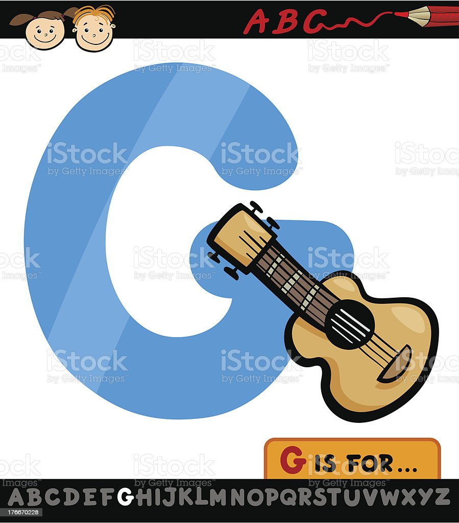 letter g with guitar cartoon illustration royalty-free letter g with guitar cartoon illustration stock vector art & more images of alphabet