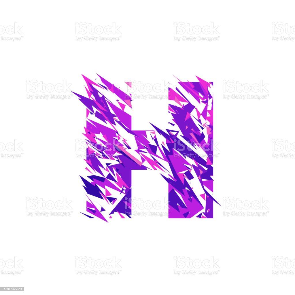 Letter H, broken into a splinters. vector art illustration