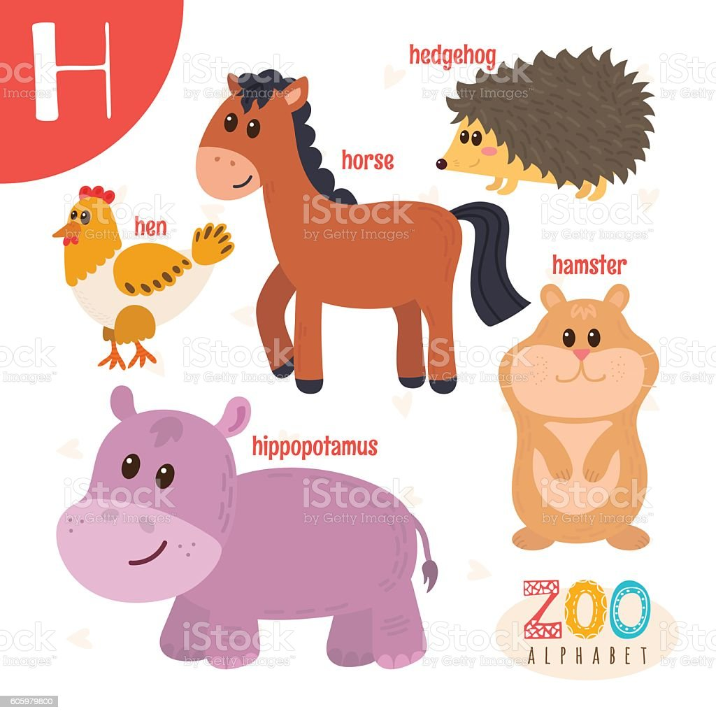 letter h cute animals funny cartoon animals in vector stock vector