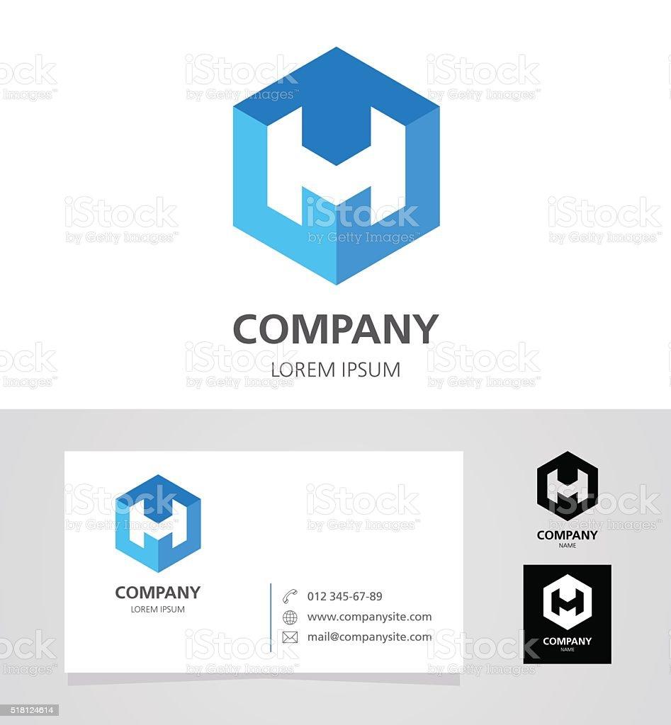 Letter H - Emblem Design Element with Business Card - illustration vector art illustration