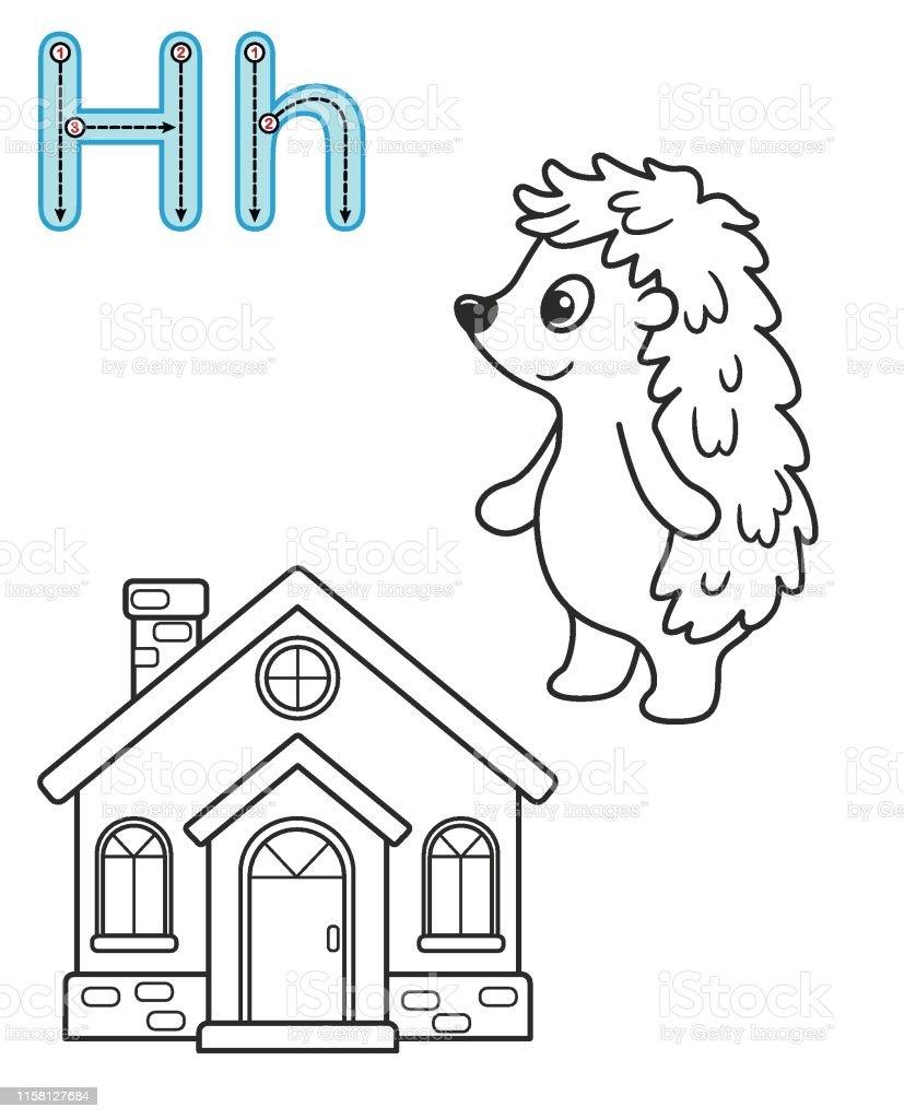 H Hedgehog Harfi Ev Vektor Boyama Kitabi Alfabe Anaokulu Ve