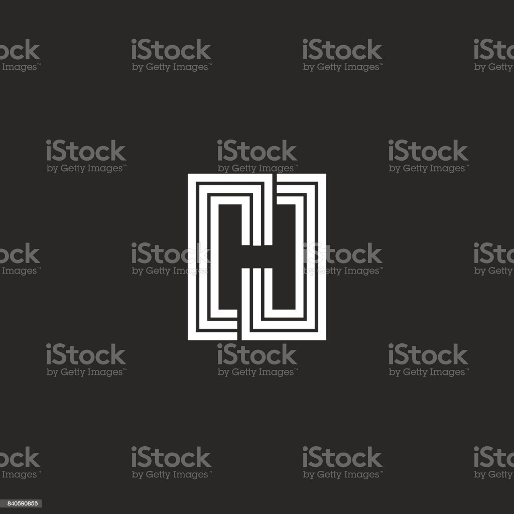 Letter H icon monogram negative space stylish typography design element. Black and white lines initial emblem mockup. vector art illustration