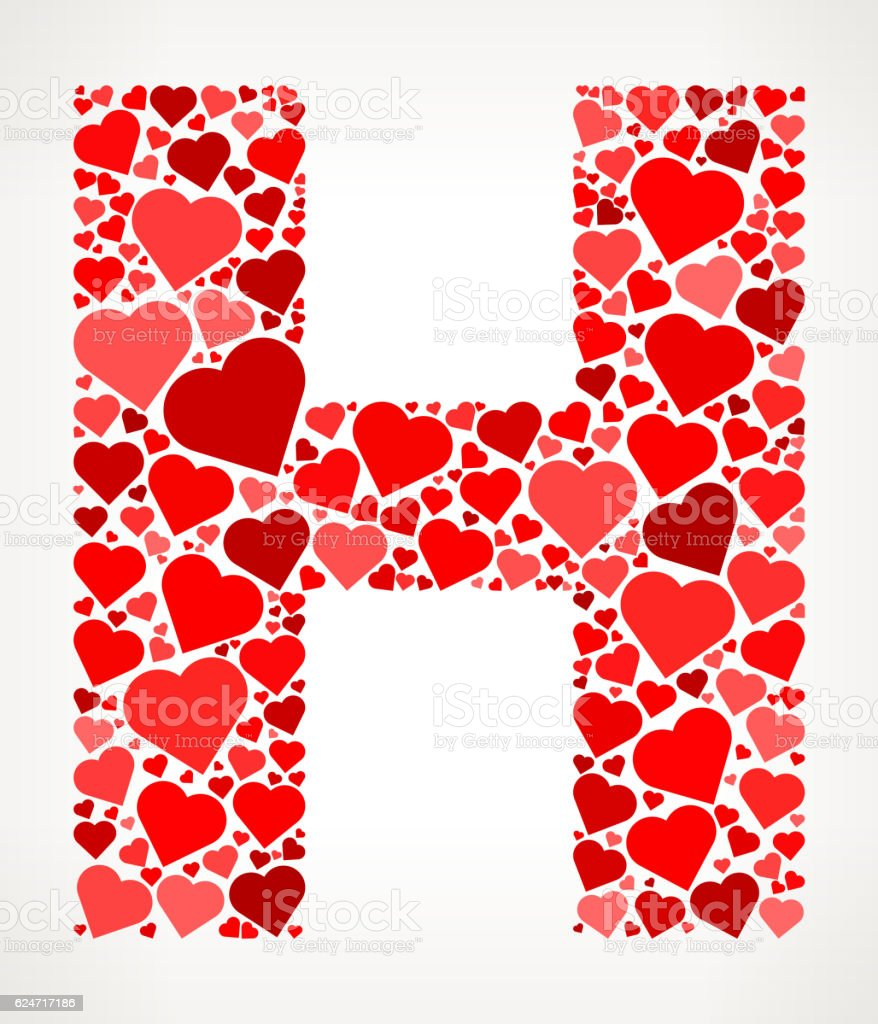 Letter H Icon With Red Hearts Love Pattern Stock Vector ...