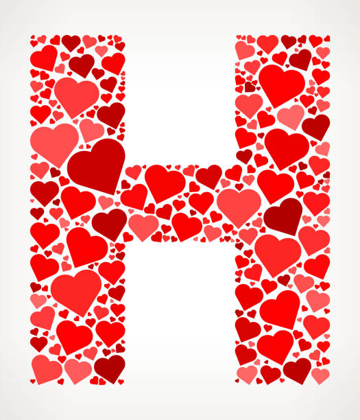Letter H Icon With Red Hearts Love Pattern Vector Art Illustration