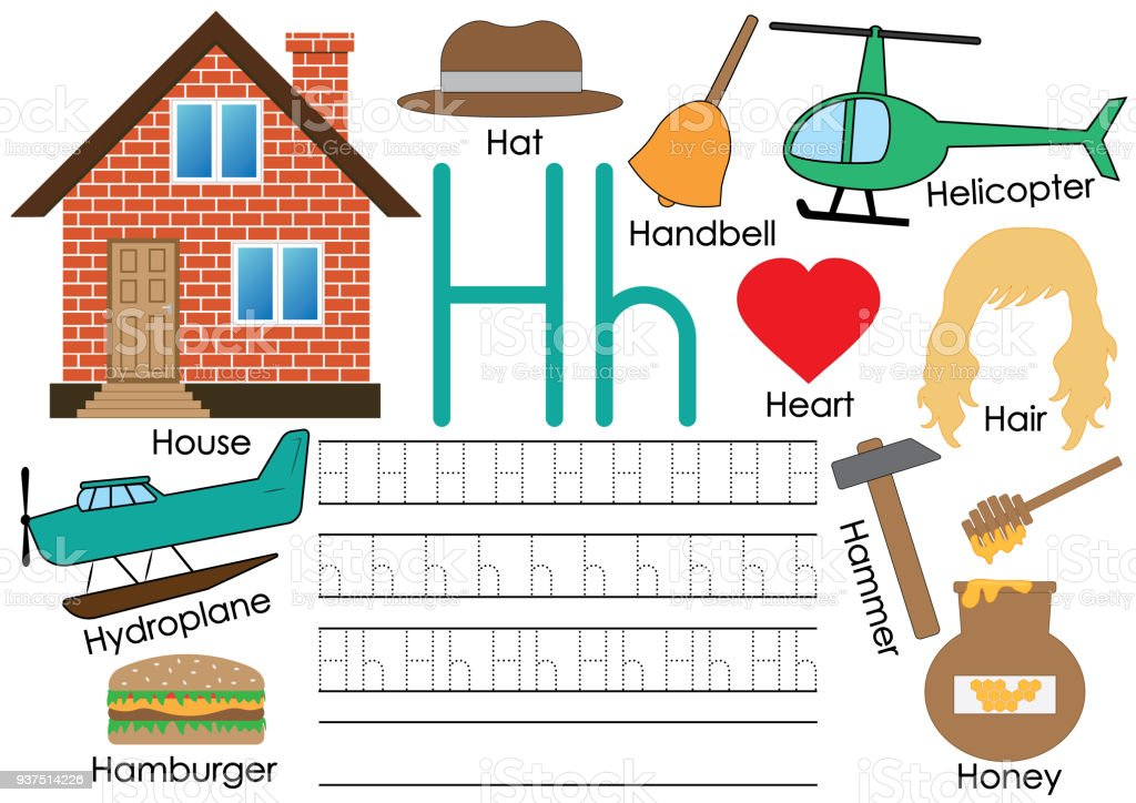 9bc4e5aefaf Letter H. Learning English alphabet with pictures. Writing practice. Vector  illustration. royalty