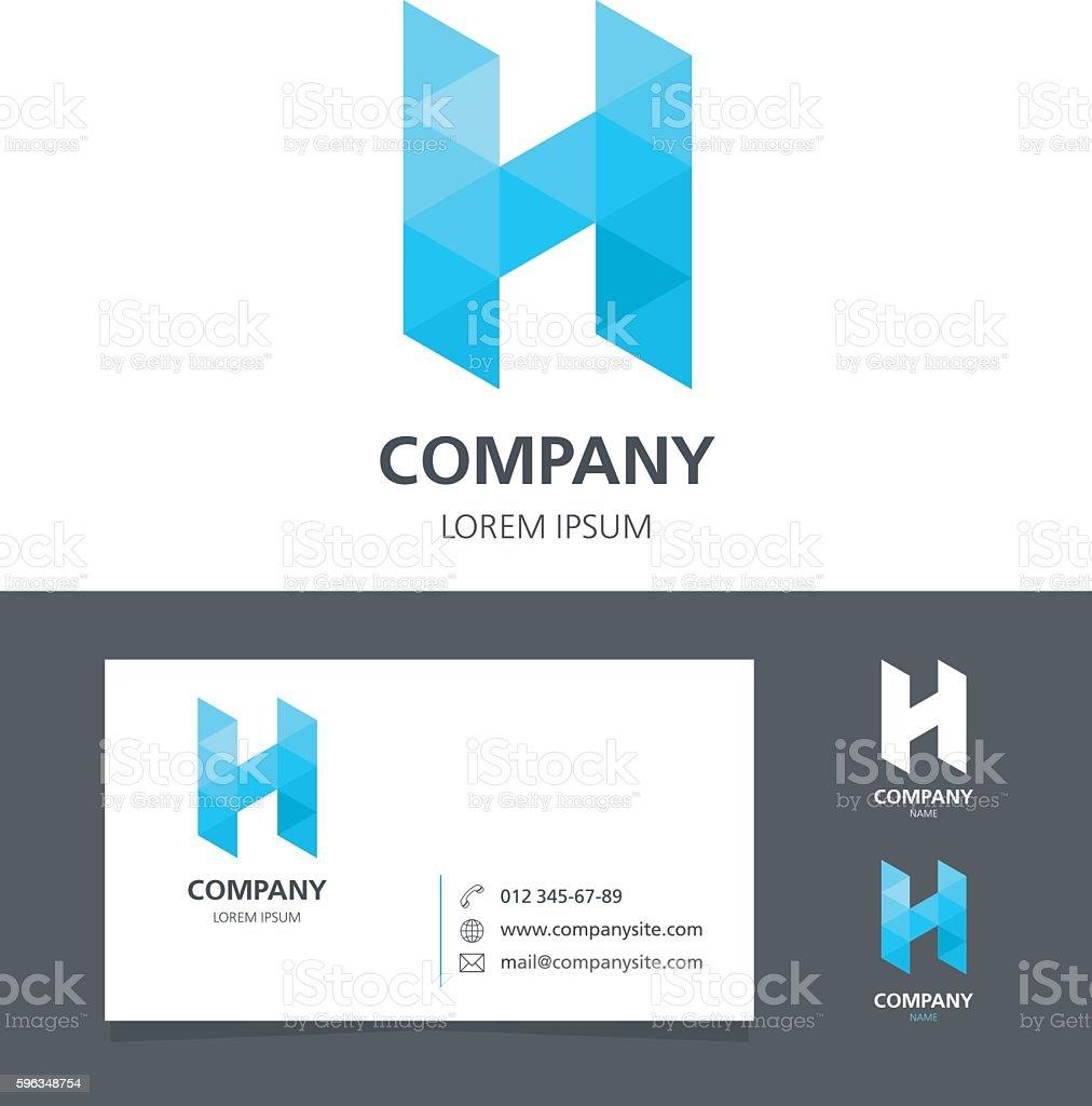Letter H - Logo Design Element with Business Card - illustration royalty-free letter h logo design element with business card illustration stock vector art & more images of abstract