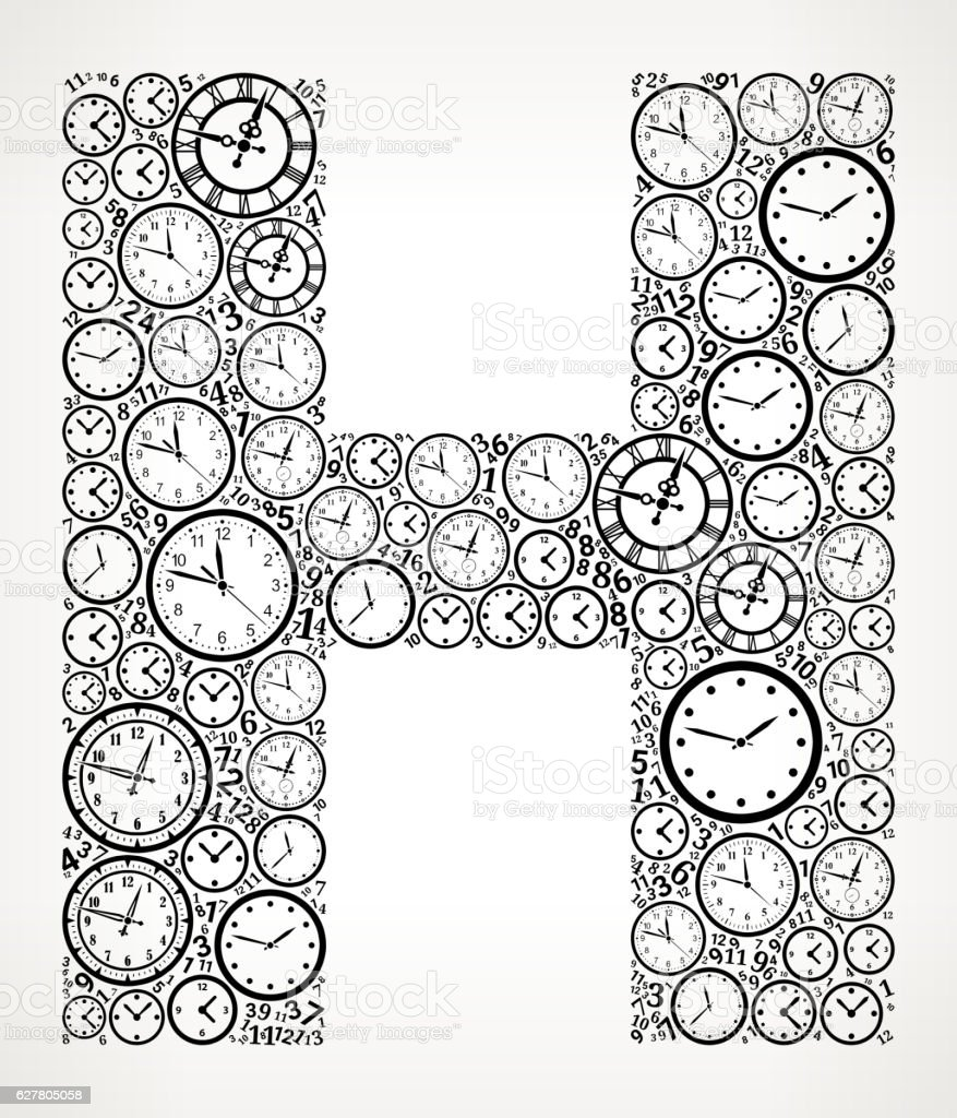Letter H On Time And Clock Vector Icon Pattern Stock Vektor Art und ...