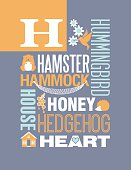 Letter H poster. Cute illustrations of things that start with H, arranged with typography to create beautiful composition. For children's rooms or nursery decoration. Also for teaching spelling and vocabulary. Posters for elementary and preschool classrooms. Part of series.