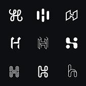 "Letter ""H"" simple logos set."