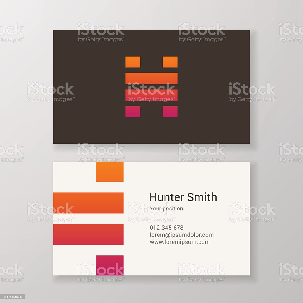 Letter H stripes Business card template vector art illustration