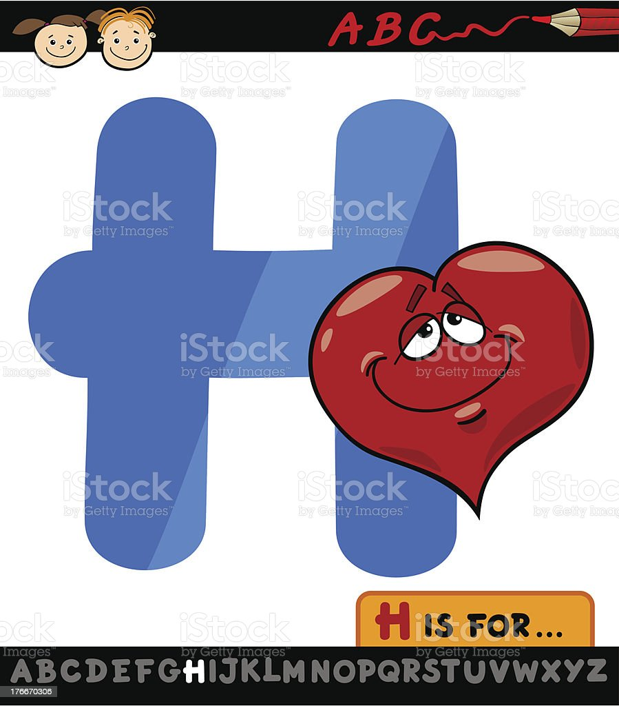 letter h with heart cartoon illustration royalty-free letter h with heart cartoon illustration stock vector art & more images of alphabet