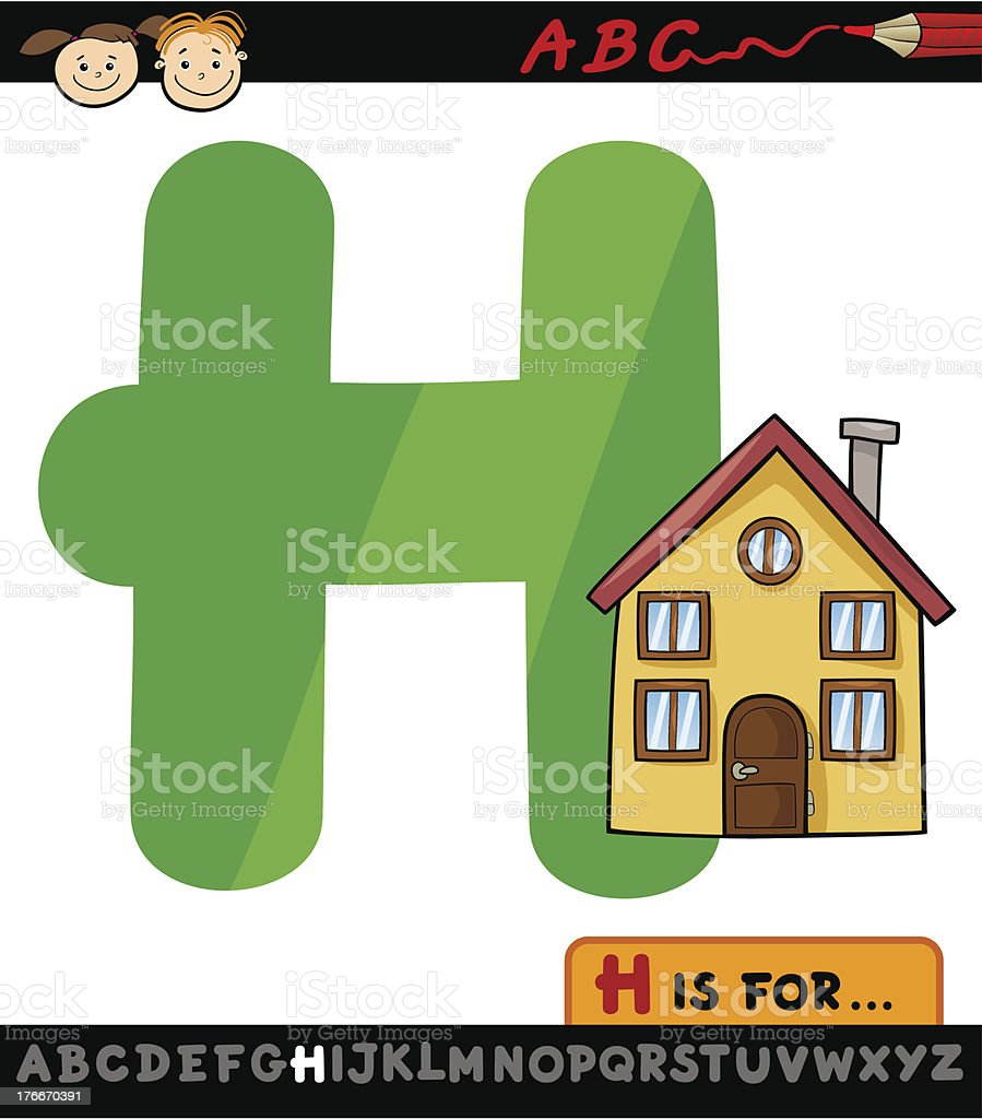 letter h with house cartoon illustration royalty-free stock vector art