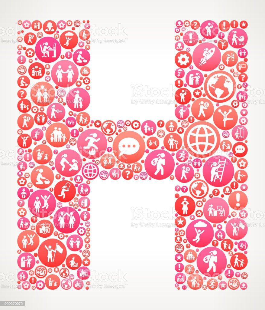 Letter H Women Girl Power Vector Icons Pattern Stock Vector Art ...