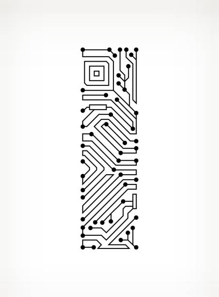 Letter I Circuit Board on White Background Letter I Circuit Board on White Background pattern stock illustrations