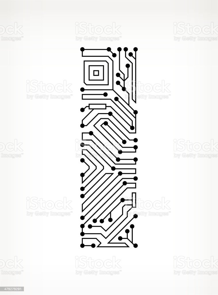 Letter I Circuit Board on White Background vector art illustration