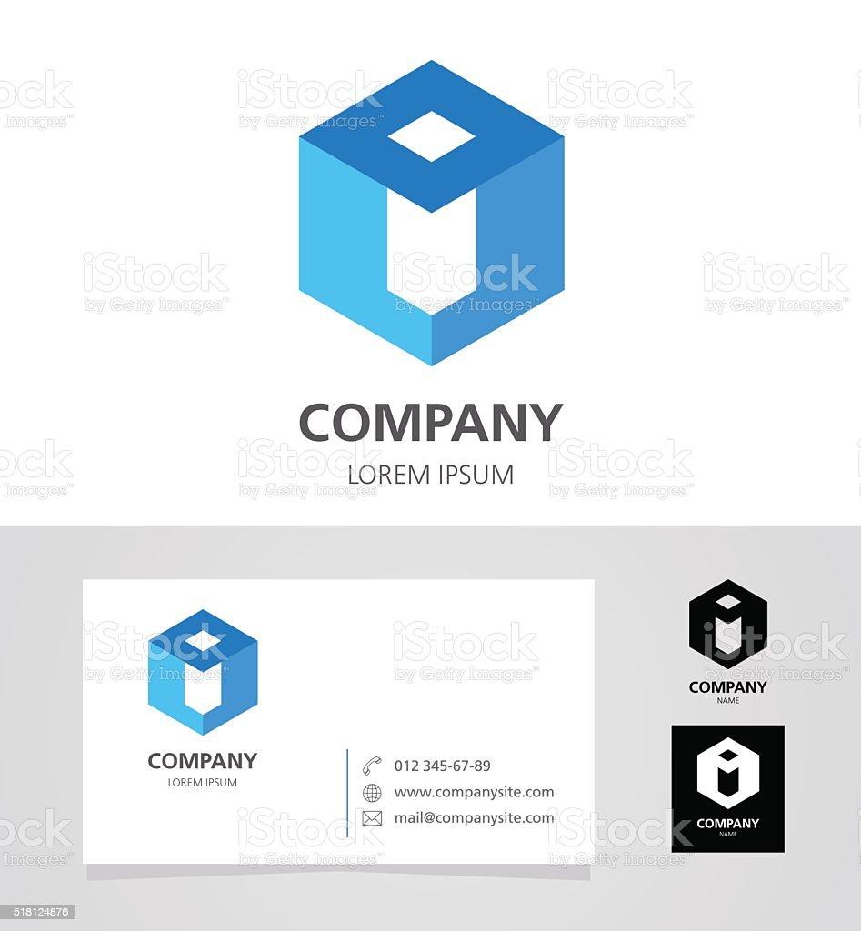 Letter I - Emblem Design Element with Business Card - illustration vector art illustration