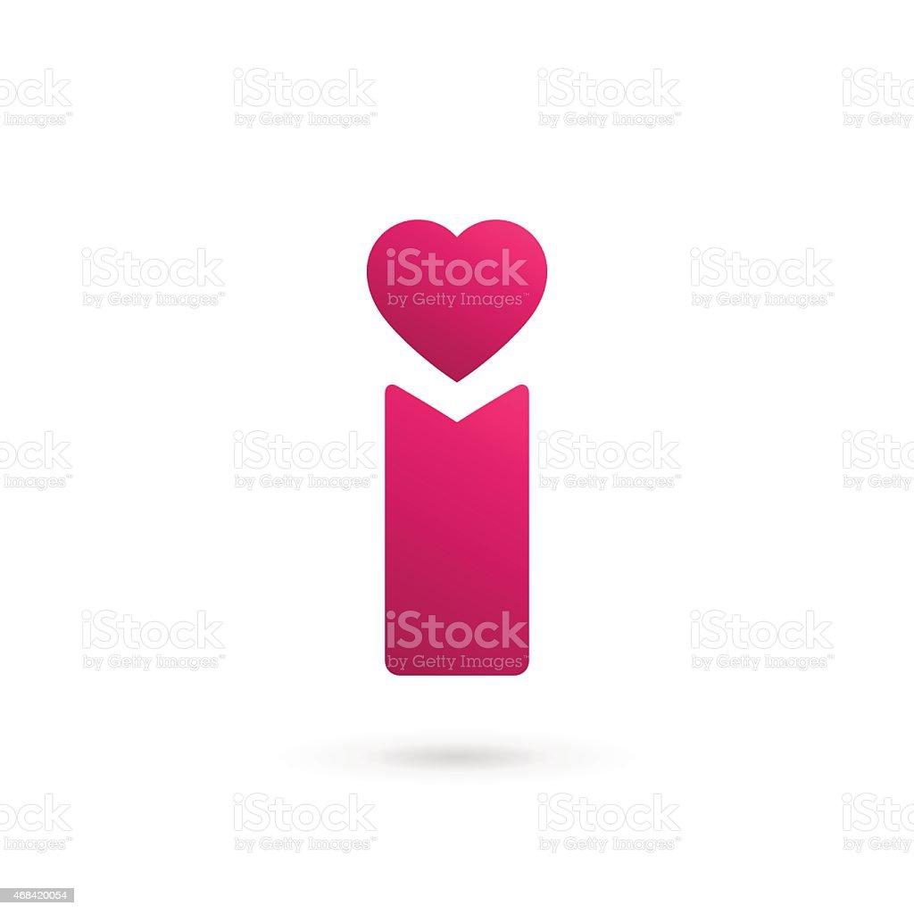 Letter I heart icon design template elements vector art illustration