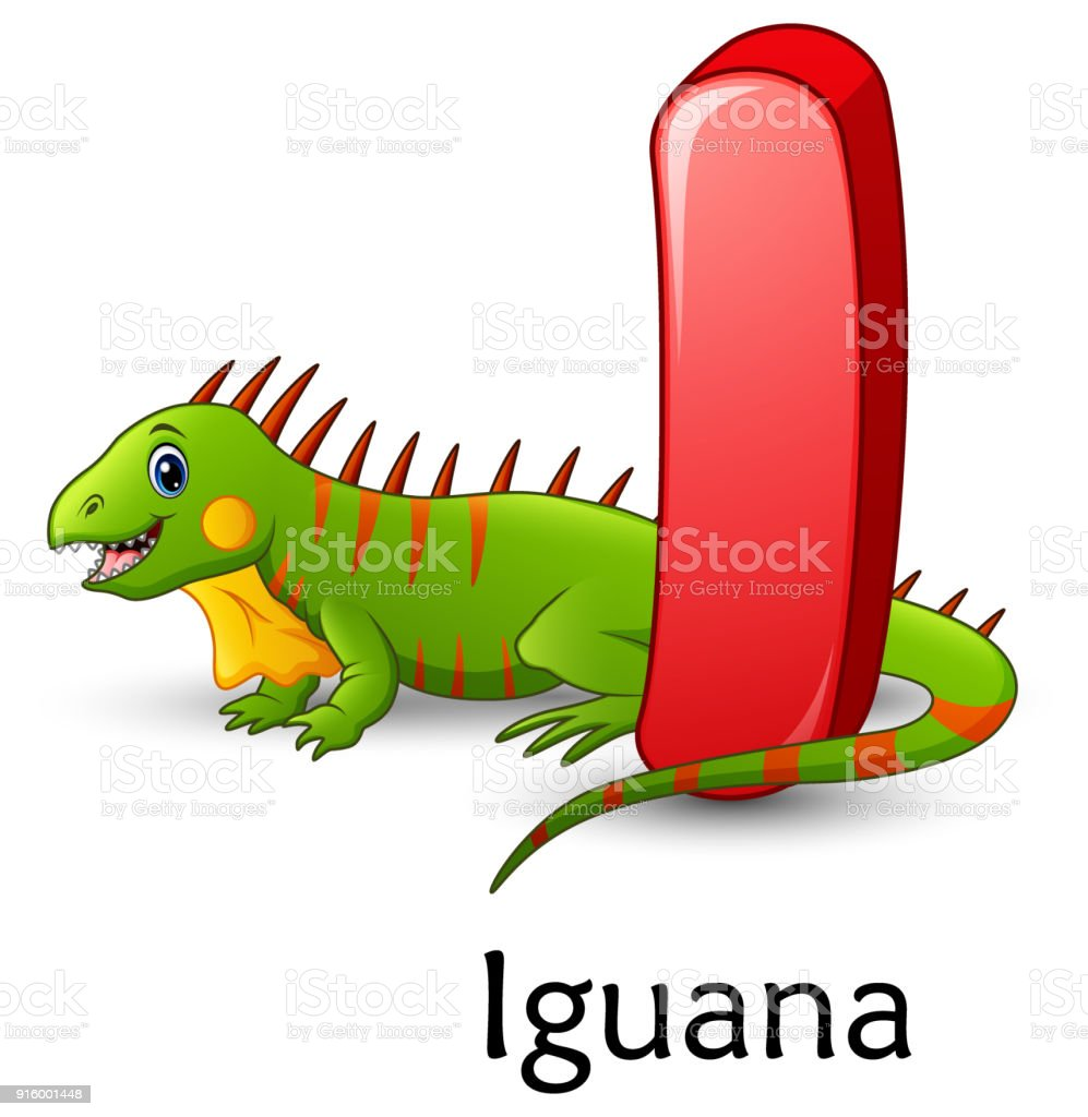 Letter I Is For Iguana Cartoon Alphabet Stock Illustration