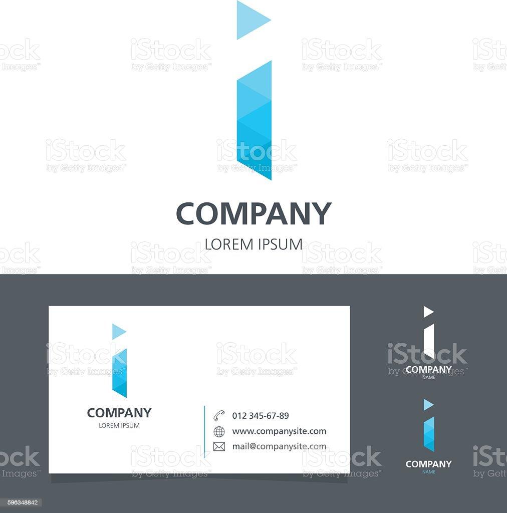 Letter I - Logo Design Element with Business Card - illustration vector art illustration