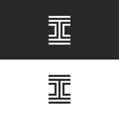 Letter I logo monogram creative template, modern minimal style typography design element