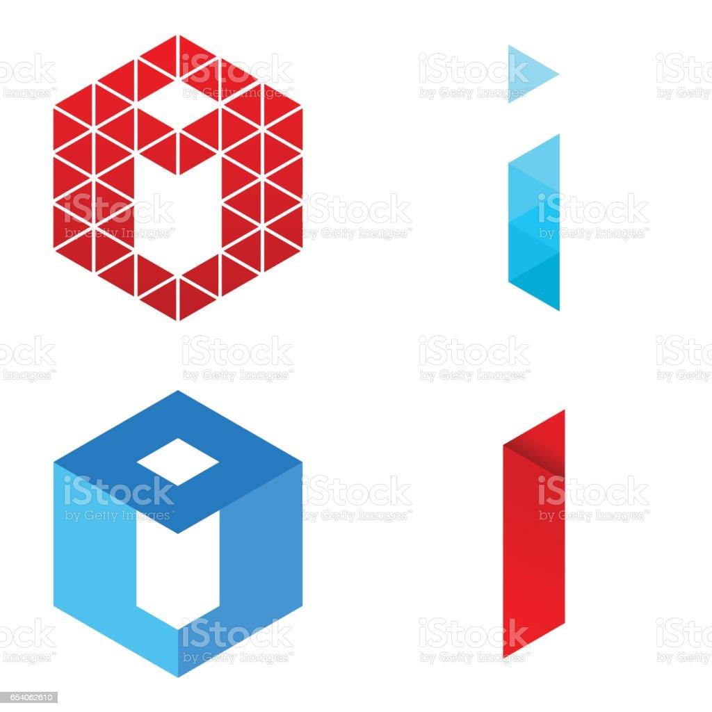 Letter I - Logo Set vector art illustration