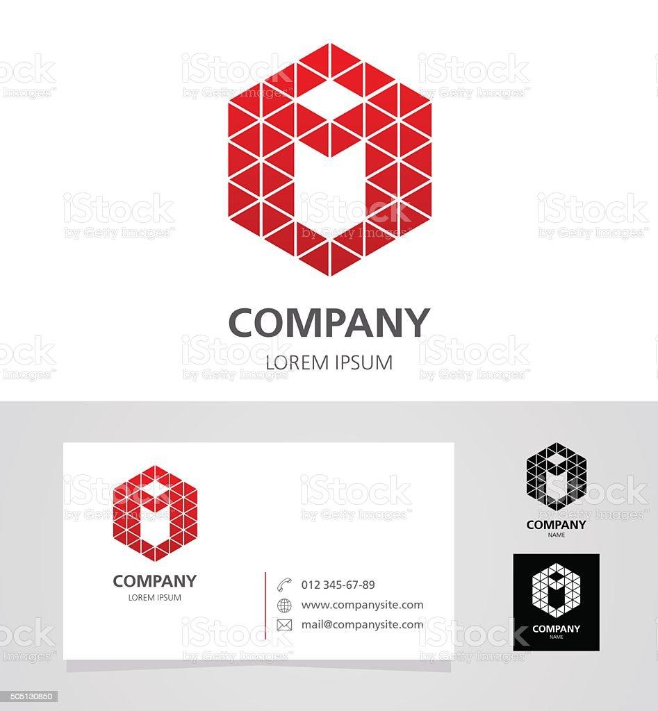 Letter I - Logotype Emblem Design Element with Business Card vector art illustration