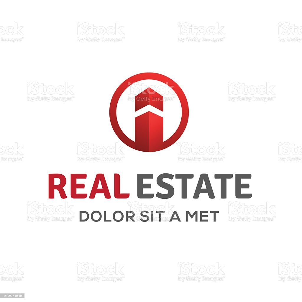 Letter I real estate sign emblem icon  house and arrow vector art illustration
