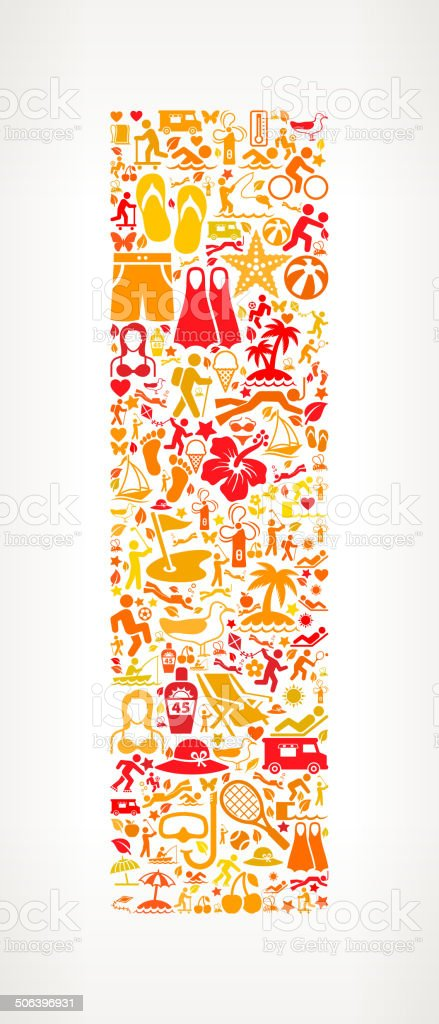 Letter I Summer and Vacation royalty free vector art Pattern royalty-free letter i summer and vacation royalty free vector art pattern stock vector art & more images of alphabet