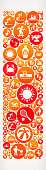 Letter I Summer Camp Fun Icon Pattern. This illustration depicts the main object in the center of the composition. It is made up of orange and red round buttons which form a fun Summer Camp fun adventure pattern. The pattern is made up of round buttons. Each button has a summer camp vacation icon on it. The buttons are different in size and color. The background is light with a slight gradient around the edges.