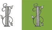 Letter I, Typo, Alphabet, Enluminure, Ornement,  Manuscrite,monogram,Rétro, Floral
