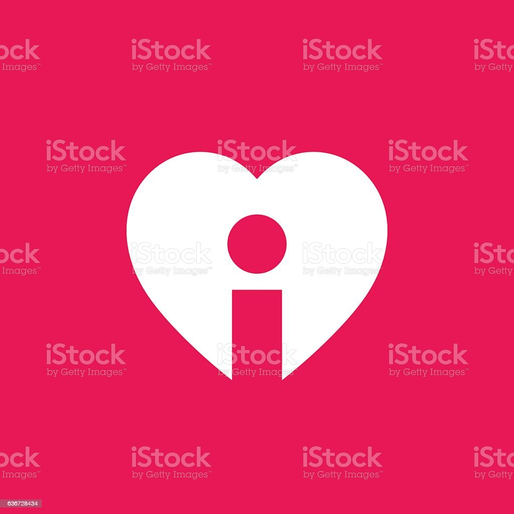 Letter I with heart icon vector art illustration
