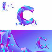 C letter ice. A creative sign for corporate identity of the company:  letter C. Symbolizes  letter of ice, stone, glass, diamond.