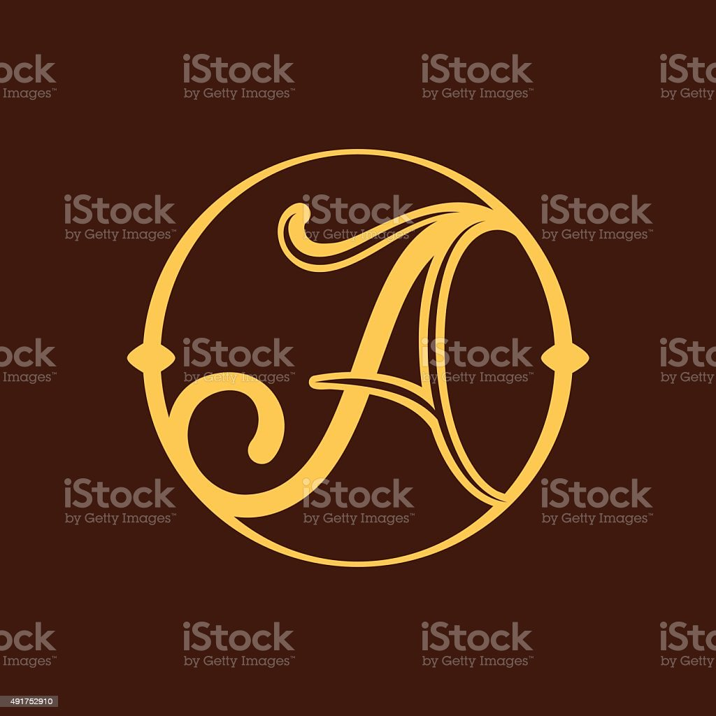 letter icon A in vintage circle. vector art illustration