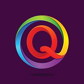 Q letter icon colorful in the circle