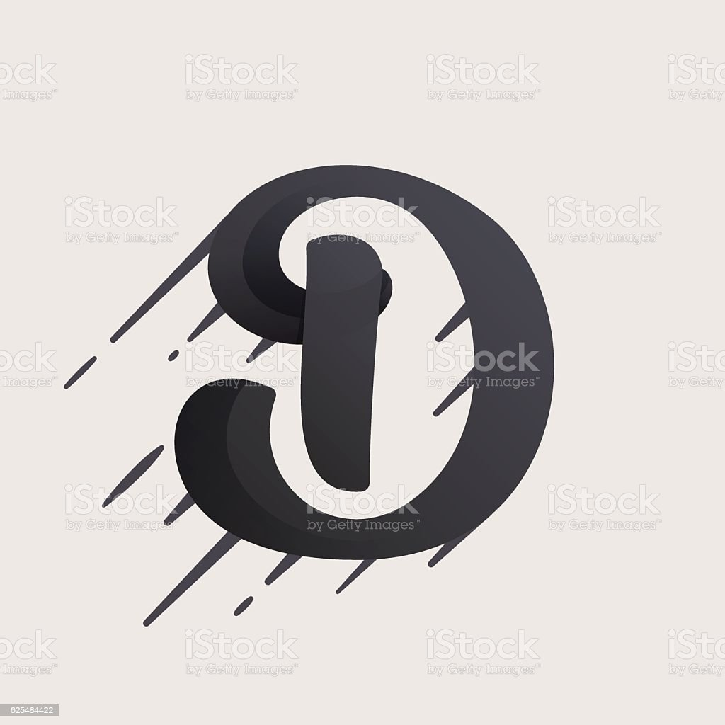 d letter icon fast speed vector script type stock vector art more