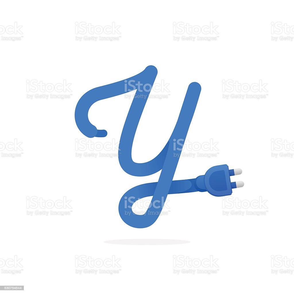 y ícone de letra formado por ligue o cabo arte vetorial de stock e