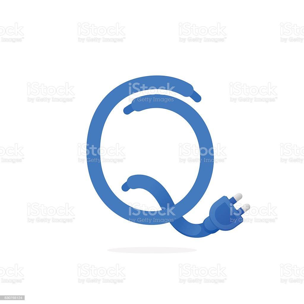 q ícone de letra formado por ligue o cabo arte vetorial de stock e