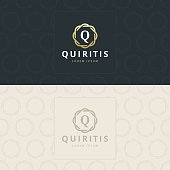 Q Letter icon, Icon with pattern. vector element
